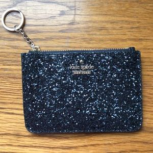 Kate Spade Black Sparkle Key Chain Wallet
